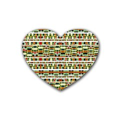 Aztec Grunge Pattern Drink Coasters 4 Pack (heart)  by dflcprints
