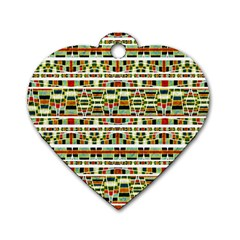 Aztec Grunge Pattern Dog Tag Heart (one Sided)  by dflcprints