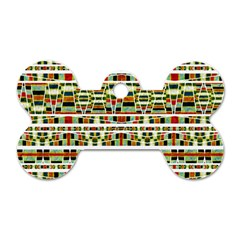 Aztec Grunge Pattern Dog Tag Bone (one Sided) by dflcprints