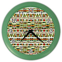 Aztec Grunge Pattern Wall Clock (color) by dflcprints
