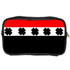 Red, White And Black With X s Design By Celeste Khoncepts Travel Toiletry Bag (two Sides) by Khoncepts