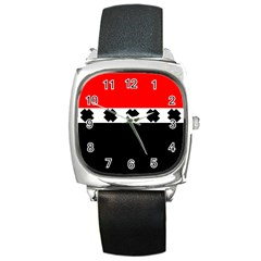 Red, White And Black With X s Design By Celeste Khoncepts Square Leather Watch by Khoncepts