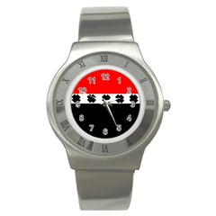Red, White And Black With X s Design By Celeste Khoncepts Stainless Steel Watch (slim)