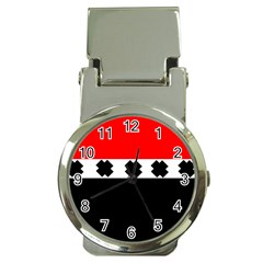 Red, White And Black With X s Design By Celeste Khoncepts Money Clip With Watch by Khoncepts