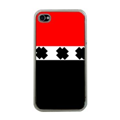 Red, White And Black With X s Electronic Accessories Apple Iphone 4 Case (clear) by Khoncepts