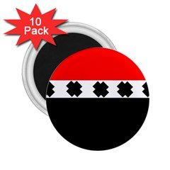 Red, White And Black With X s Design By Celeste Khoncepts 2 25  Button Magnet (10 Pack)