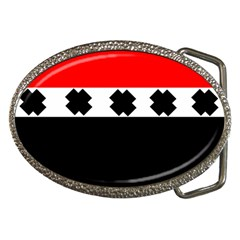 Red, White And Black With X s Design By Celeste Khoncepts Belt Buckle (oval) by Khoncepts