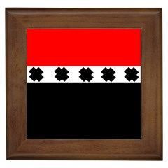 Red, White And Black With X s Design By Celeste Khoncepts Framed Ceramic Tile by Khoncepts