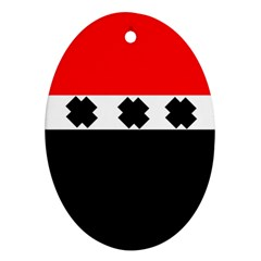 Red, White And Black With X s Design By Celeste Khoncepts Oval Ornament by Khoncepts