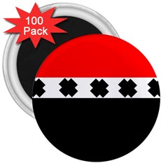 Red, White And Black With X s Design By Celeste Khoncepts 3  Button Magnet (100 pack) by Khoncepts