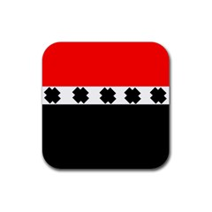 Red, White And Black With X s Design By Celeste Khoncepts Drink Coaster (square) by Khoncepts