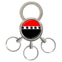 Red, White And Black With X s Design By Celeste Khoncepts 3 Ring Key Chain by Khoncepts