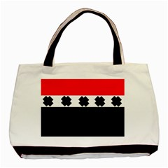 Red, White And Black With X s Design By Celeste Khoncepts Twin Sided Black Tote Bag by Khoncepts