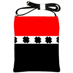 Red, White And Black With X s Design By Celeste Khoncepts Shoulder Sling Bag by Khoncepts