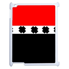 Red, White And Black With X s Design By Celeste Khoncepts Apple Ipad 2 Case (white) by Khoncepts