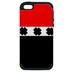 Red, White And Black With X s Design By Celeste Khoncepts Apple Iphone 5 Hardshell Case (pc+silicone) by Khoncepts