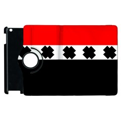 Red, White And Black With X s Design By Celeste Khoncepts Apple Ipad 3/4 Flip 360 Case by Khoncepts