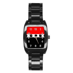 Red, White And Black With X s Design By Celeste Khoncepts Stainless Steel Barrel Watch by Khoncepts
