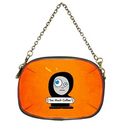 Orange Funny Too Much Coffee Chain Purse (two Sided)