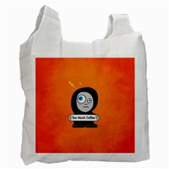 Orange Funny Too Much Coffee White Reusable Bag (two Sides)
