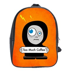 Orange Funny Too Much Coffee School Bag (large)