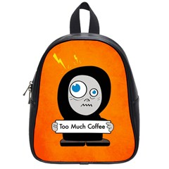 Orange Funny Too Much Coffee School Bag (small)