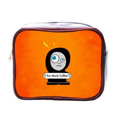 Orange Funny Too Much Coffee Mini Travel Toiletry Bag (one Side)