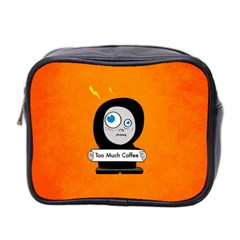 Orange Funny Too Much Coffee Mini Travel Toiletry Bag (two Sides)