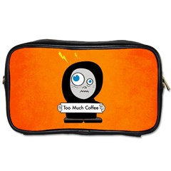Orange Funny Too Much Coffee Travel Toiletry Bag (one Side)