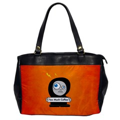 Orange Funny Too Much Coffee Oversize Office Handbag (one Side)