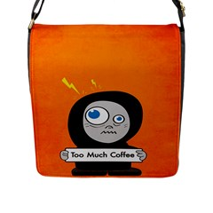 Orange Funny Too Much Coffee Flap Closure Messenger Bag (large)