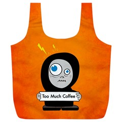 Orange Funny Too Much Coffee Reusable Bag (xl)
