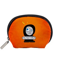 Orange Funny Too Much Coffee Accessories Pouch (small)