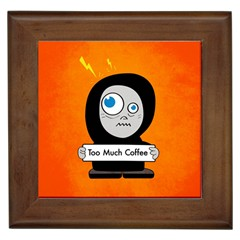Orange Funny Too Much Coffee Framed Ceramic Tile by CreaturesStore