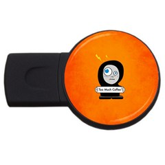 Orange Funny Too Much Coffee 2gb Usb Flash Drive (round)