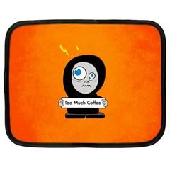 Orange Funny Too Much Coffee Netbook Sleeve (large)