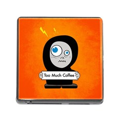 Orange Funny Too Much Coffee Memory Card Reader With Storage (square)