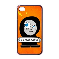 Orange Funny Too Much Coffee Apple Iphone 4 Case (black)