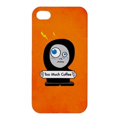 Orange Funny Too Much Coffee Apple Iphone 4/4s Premium Hardshell Case