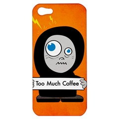 Orange Funny Too Much Coffee Apple Iphone 5 Hardshell Case by CreaturesStore