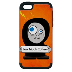 Orange Funny Too Much Coffee Apple Iphone 5 Hardshell Case (pc+silicone) by CreaturesStore