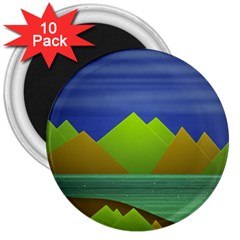 Landscape  Illustration 3  Button Magnet (10 Pack) by dflcprints