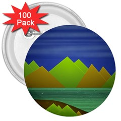 Landscape  Illustration 3  Button (100 Pack)