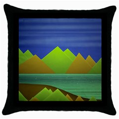 Landscape  Illustration Black Throw Pillow Case by dflcprints