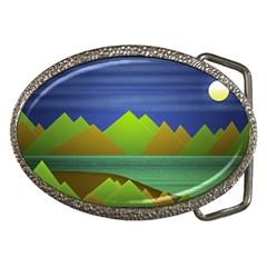 Landscape  Illustration Belt Buckle (oval) by dflcprints
