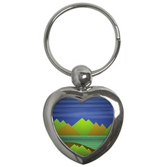 Landscape  Illustration Key Chain (heart) by dflcprints