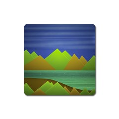 Landscape  Illustration Magnet (square) by dflcprints