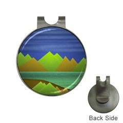 Landscape  Illustration Hat Clip With Golf Ball Marker by dflcprints