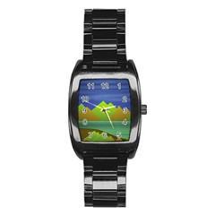 Landscape  Illustration Stainless Steel Barrel Watch by dflcprints