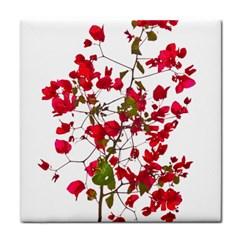 Red Petals Ceramic Tile